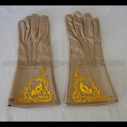 Gants officier brodé infanterie marron civil war