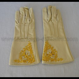 Gants officier brodé Artillerie écru civil war