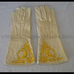 Gants officier brodé infanterie écru civil war