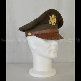 "US ""Cap Crusher"" Officer Cap OD Green WWII"