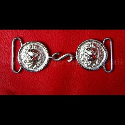 "Closure belt of light cavalry officer ""lion head"" silver"