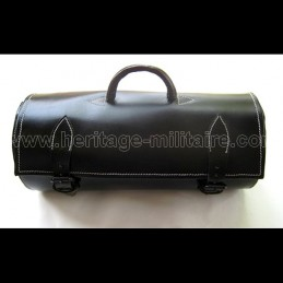 Round leather travel bag