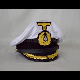 Casquette d'officier U-Boat Allemand avec insignes brodés
