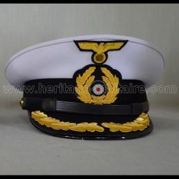 Casquette d'officier U-Boat Allemand insignes brodés aspect rigide