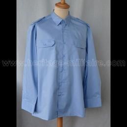 Chemise militaire twill bleu ciel manche longue