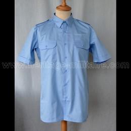 Chemise militaire twill bleu ciel manche courte