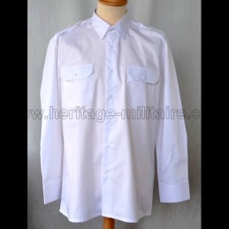 Shirt Military twill White Long Sleeve