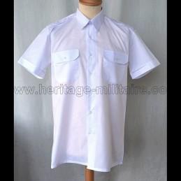 Shirt Military twill White Short Sleeve