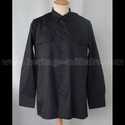 Shirt Military twill Black Long Sleeve