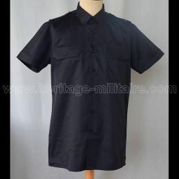 Chemise militaire twill noire manche courte