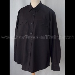 Shirt military 100% cotton Black long sleeve