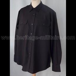 Chemise militaire 100% coton noire manche longue