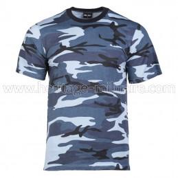 Tee-shirt 100% coton camo bleu