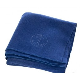 Blue wool blanket with anchor