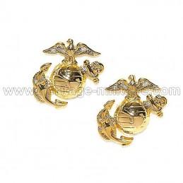 Insignia collar USMC gold WWII