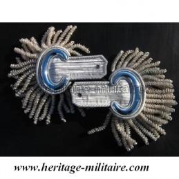 Épaulettes d'officier de parade argentées à franges