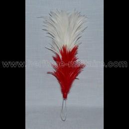 Plumet rouge / blanc 25 cm pour shako tige metal