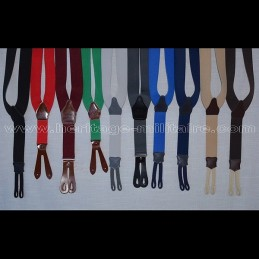 Braces leather and elastic, red, blue, or green