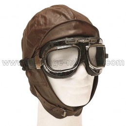 Brown leather aviator helmet